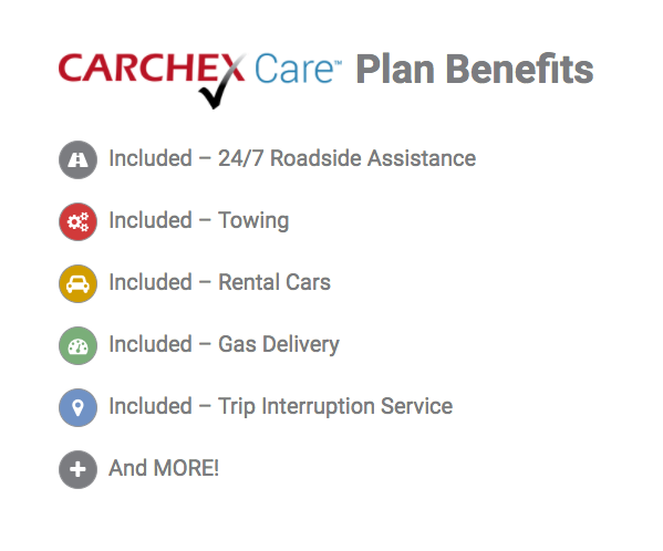 list of additional benefits for carchex warranties